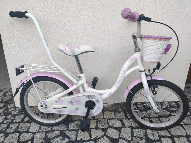 rower dziecięcy biało różowy z koszykiem