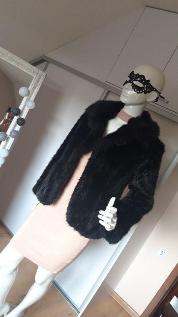 Futro futerko czarne Sylwester Święta eleganckie L XL
