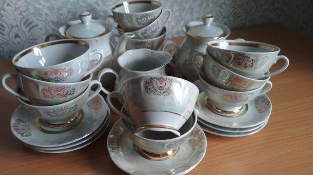 Чайный сервиз СССР КРЕМГЕС фарфор на 11 персон