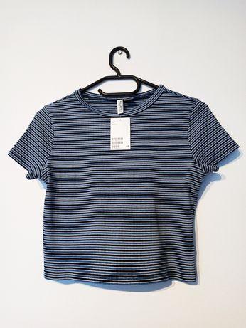 Koszulka bluzka t-shirt crop dżersejowy top w paski w prążki H&M L 40