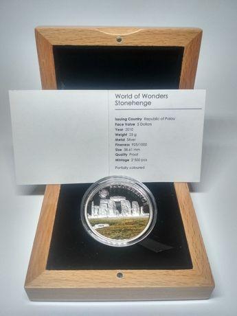 "Монета ""World of Wonders Stonehenge"", (Мир чудес Стоунхендж), серебро."