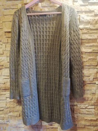 Nowy kardigan sweter damski S M L XL brąz ciepły jak alpaka dlugi