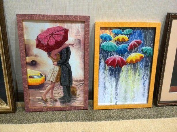 Веселые зонтики подарок картина бисером