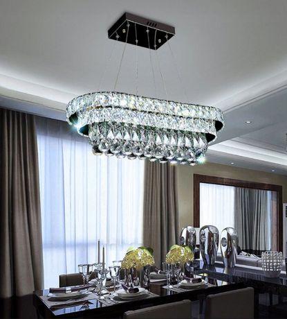 Duża Lampa KRYSZTAŁowa Wisząca LED ŻYRANDOL + Pilot