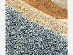 Песок речной и овражный, щебень, вторичный щебень,