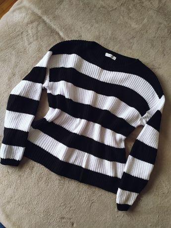 sweter paski reserved biało czarny S