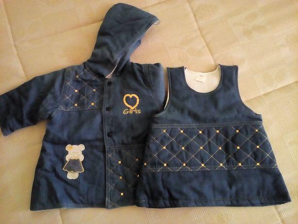 Conjunto ganga vestido e blusão (6 meses)