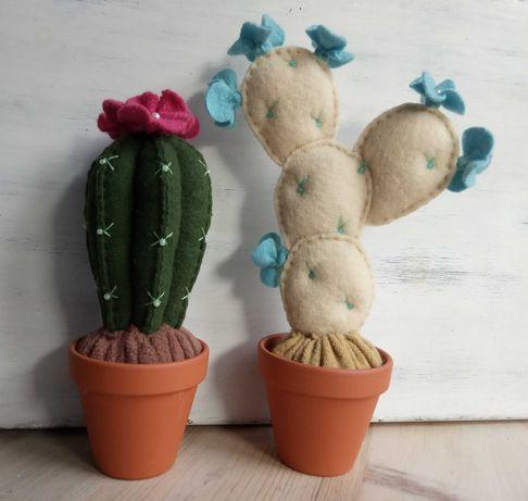 Kaktusy, filc, ozdoba, rękodzieło, Walentynki