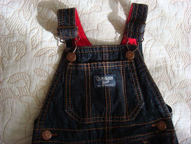 Стильный теплый детский джинсовый комбинезон.