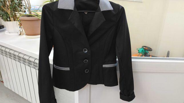 Пиджак черный для девочки, р. 146, для школы