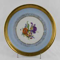 Prato grande/Tarteira, Artibus, com flores, cercadura no bordo a ouro
