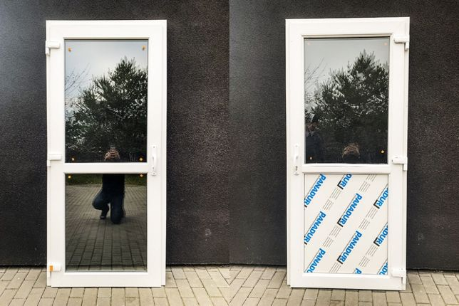 Drzwi zewnętrzne PCV 90x210 białe * SKLEPOWE BIUROWE * NOWE!! od reki