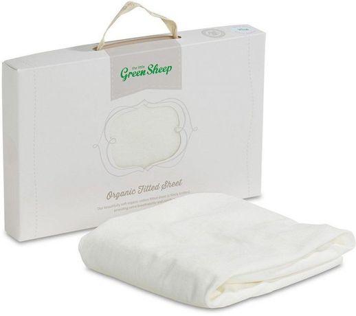 Prześcieradło z bawełny na gumce Little green Jersey Sheep, białe