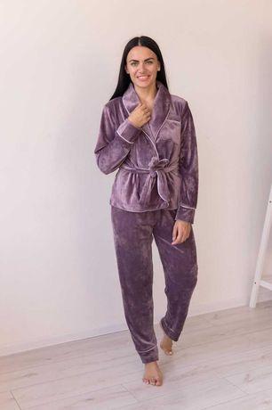 Теплая велюровая женская пижама