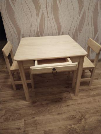Детский стол и стул из натурального дерева