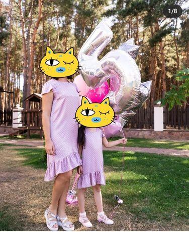 Одинаковые платья для мамы и дочки Family look