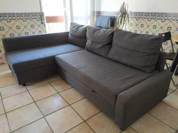 Sofá cama com arrumação cinza escuro 1 ano de uso