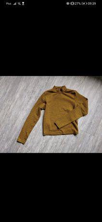 Bluzka we wzorek golf z długim rękawem sweter musztardowy kratka