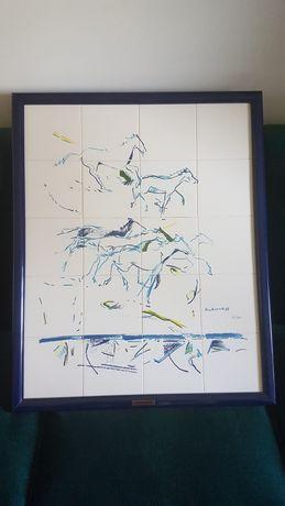 Painel de azulejos - cavalos - Rui de Azevedo