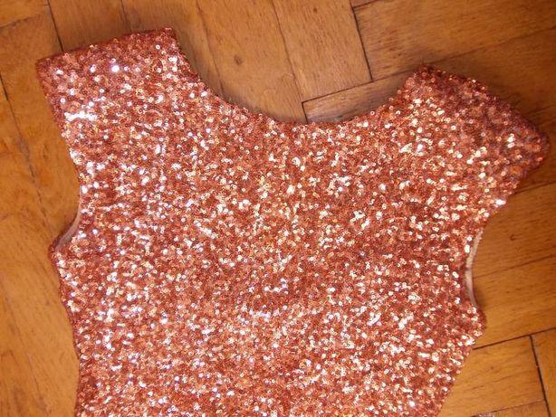 sukienka cekinowa na sylwestra impreza dekolt tył 36 piękna łosoś róż
