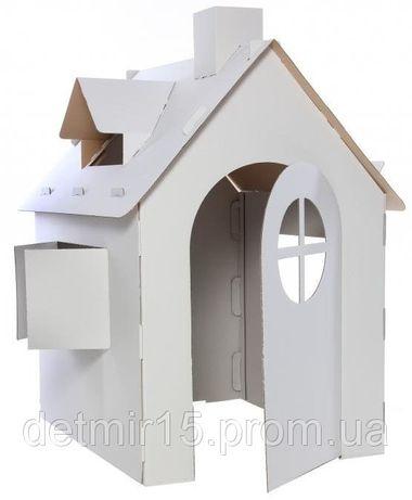 Детский домик из картона, картонный дом раскраска для игр и рисования.