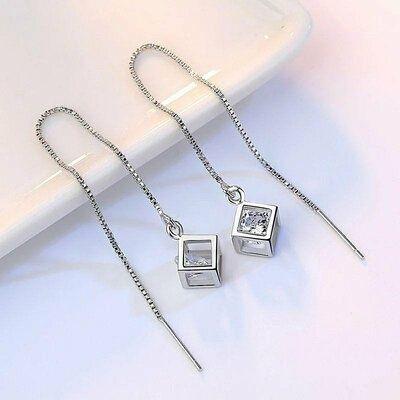 Продам серебряные серьги подвески/протяжки с цирконием