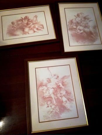 Três quadros com querubins (estilo inglês)
