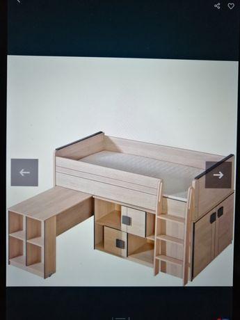 Łóżko piętrowe z biurkiem i szafką plus komoda