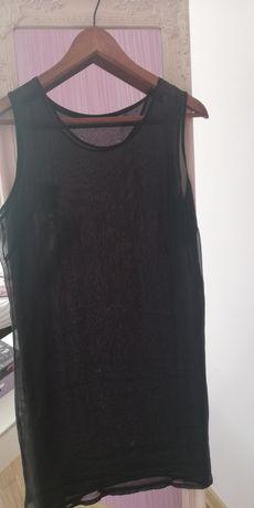 Zara.Coachella.Czarna,przeźroczysta,festiwalowa sukienka tunika,halka