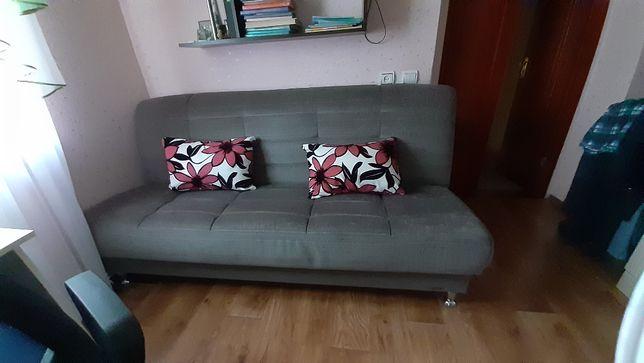 диван книжка стильный серый с подушками
