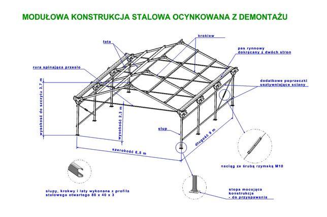 Konstrukcja stalowa ocynkowana 6.5x9 PROMOCJA