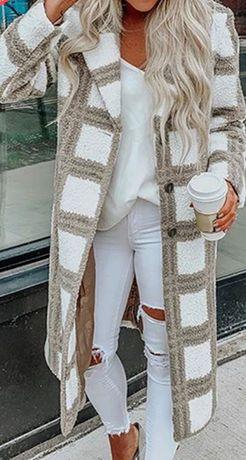 Długi dwukolorowy rozpinany sweter Handmade