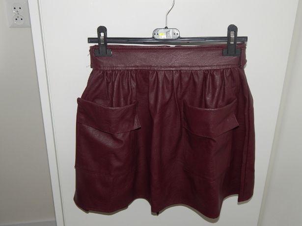 Spódnica spódniczka skóra bordowa bordo jak nowa kieszenie 36 pasek
