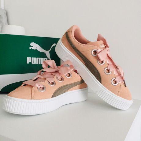 Różowe brzoskwiniowe skórzane sneakersy Puma 38,5