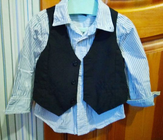 Рубашка и жилет нарядный лук для мальчика на праздник 1.5-3 года