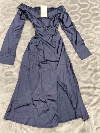 Шелковоп платье миди на запах Zara