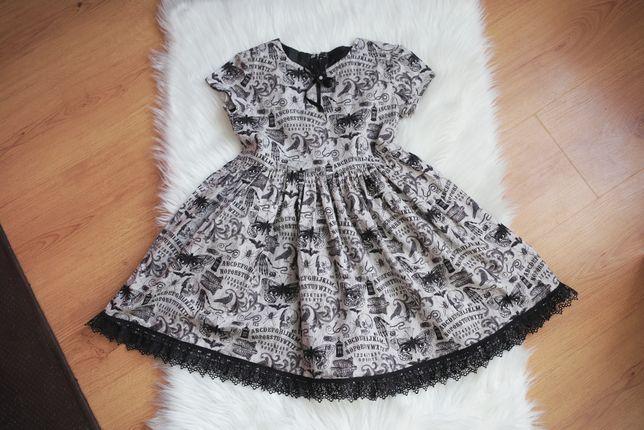 Gotycka sukienka Halloween suknia dla dziewczynki print Hell bunny