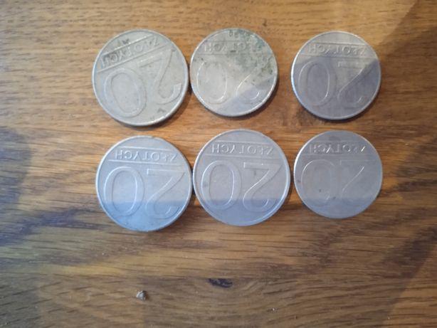 Monety 20zlotych PRL. 6 sztuk