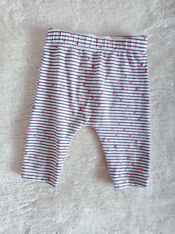 George spodnie legginsy 56cm 62cm w paski z serduszkami biały granat
