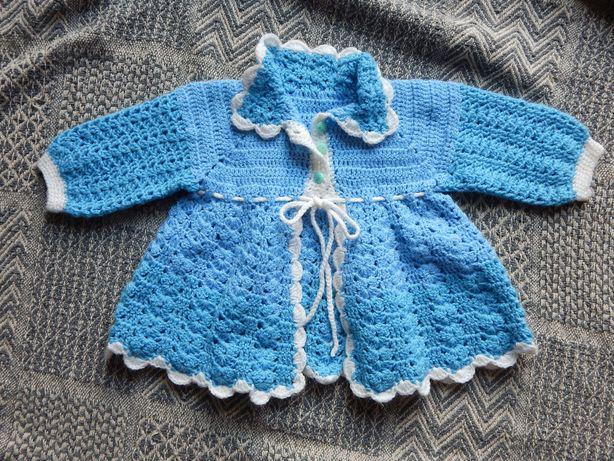 Niebieski sweterek wiosna chrzest ręcznie robiony dziewczynka 24-36msc