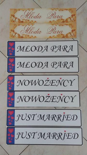 Tablice na ślub do auta wesele ślubne tablice rejestracyjne