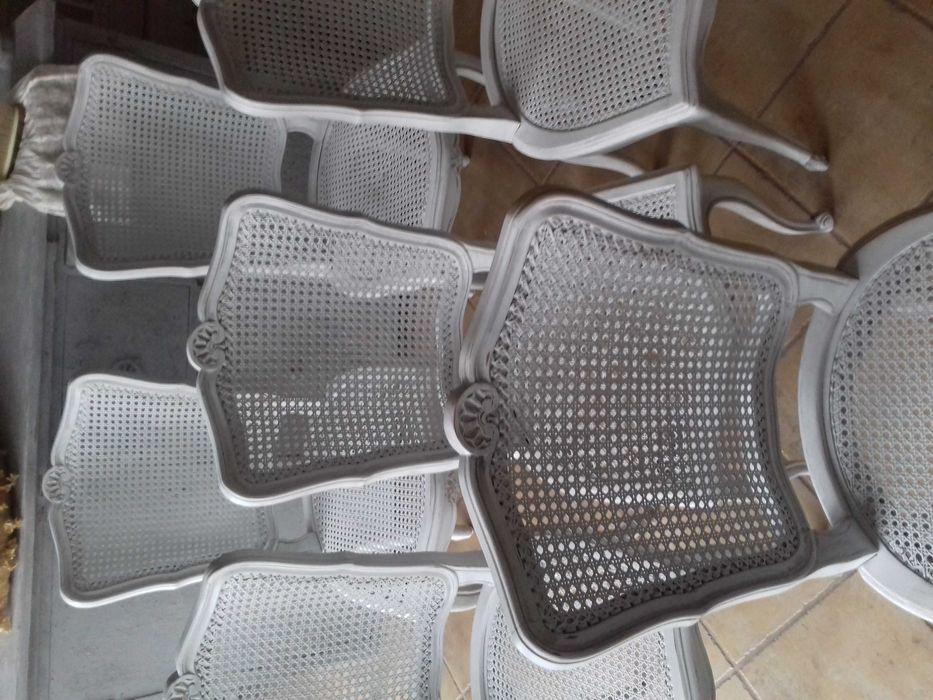 Komplet 6 francuskich krzeseł w brudnej bieli z przetarciami Szczecin - image 1