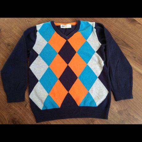 Sweter dla chłopca, granatowy, wzory rozmiar 110,święta,szkoła