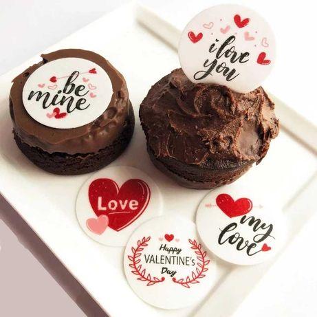 Jadalne oplatki na muffiny 20 szt.z motywem serca