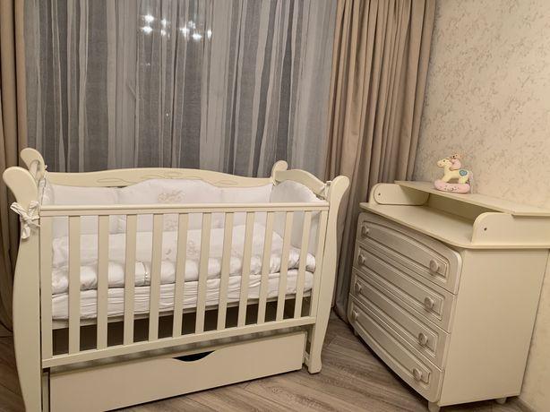 комплект Кроватка детская + Комод пеленатор + матрас + Постельный комп
