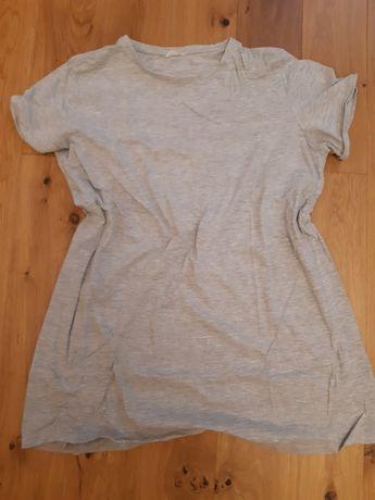 Szara koszulka ciążowa na krótki rękaw ze ściągaczem rozm XXL
