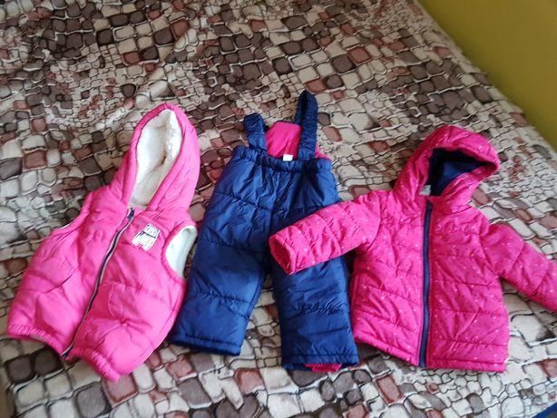Zestaw zimowa kurtka spodnie i kamizelka