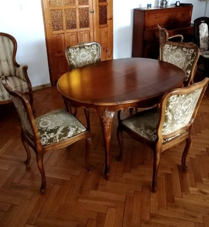 Stół stylowy z 4 krzesłami antyk Warrings piękny