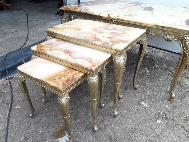 Stolik mosiądz stół  marmur 3 sztuki prezent na święta