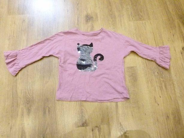 rozm. 140 bluzka różowa krótka  kotek z cekinami krótka